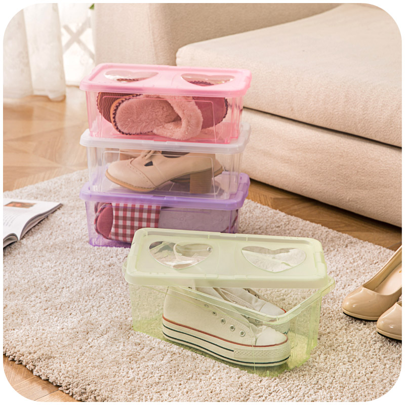 Home home transparent storage box with cover box finishing shoes shoes snacks storage box large plastic storage box(China (Mainland))