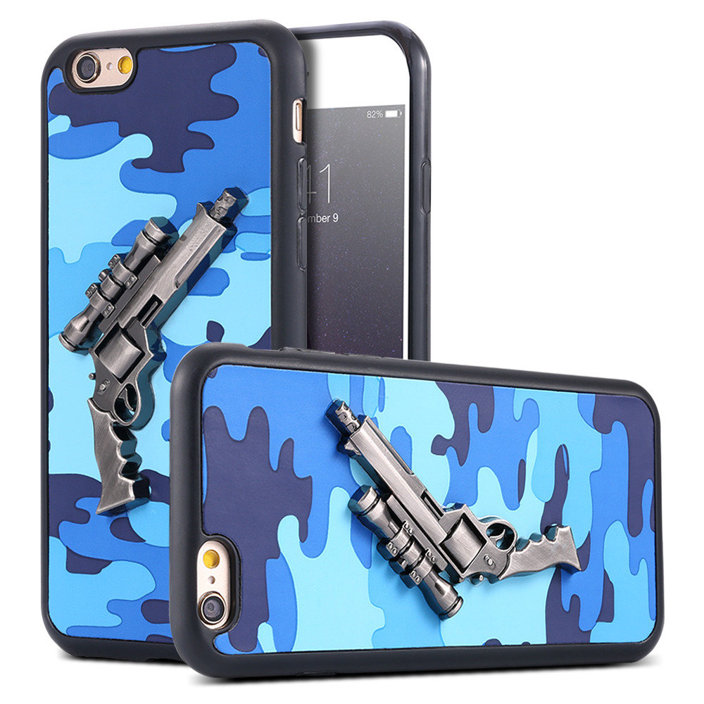 Cool Camouflage Pattern + 3D Metal Gun Decoration Soft Back Case For iPhone 6 4.7 6S 6/6S Plus Stylish Fighter Fuuny i6/6S Cover(China (Mainland))