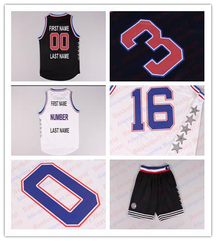 2015 All Star Game Black and White Custom Basketball Jerseys, 2015 All Star Customized Basketball Jersey Free Shipping(China (Mainland))