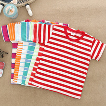 Summer Fashion Cute Kid T Shirts Free shipping Low Price T-shirts Cotton O-neck Short Sleeve Stripe Tee Sports Shirt