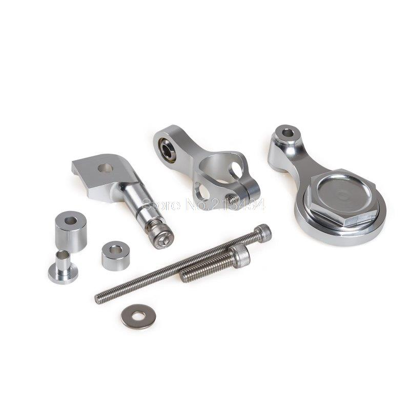 New CNC Silver Steering Damper Mounting Kit For Yamaha YZF R6 2006 2015 R1 2009 2012