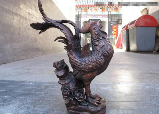 song voge gem S0469 Chinese Red Bronze Copper Feng Shui Lucky Auspicious chanticleer <font><b>rooster</b></font> Statue