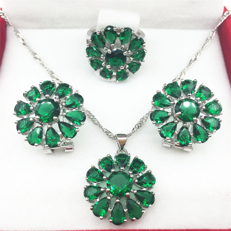 925 Sterling Silver Green Emerald Jewelry Sets Flower Shaped Earrings/Pendant/Necklace/Rings 6/7/8/9 For Women Free shipping(China (Mainland))