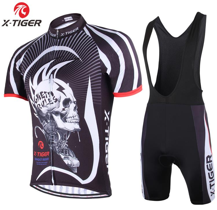 X-Tiger Brand High Quality Ghost Skull Cycling Jersey/Quick Dry Bike Sports Clothing/Clothes and Breathable Bicycle Bib Shorts<br><br>Aliexpress