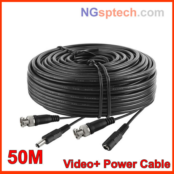 50M Video Power Camera Cable BNC cctv accessories RG59, cctv extension cable(China (Mainland))