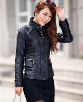 2015 NEW Fashion women genuine leather Slim-fitting jacket coat women's short leather jacket coat(China (Mainland))