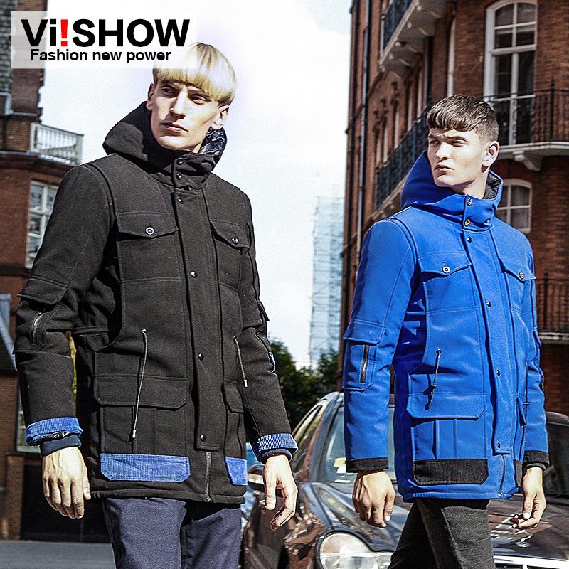 Viishow winter hooded cotton padded coat men jacket down parkas 2014 warm sport trench coat men