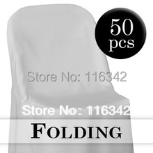 Free Shipping 2014 Hot Sale  50pcs Premium Polyester White Folding Chair Covers For Wedding(China (Mainland))