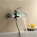 Free shipping modern glass faucet for bathroom waterfall faucets bathroom basin sink faucets chromed mixer taps