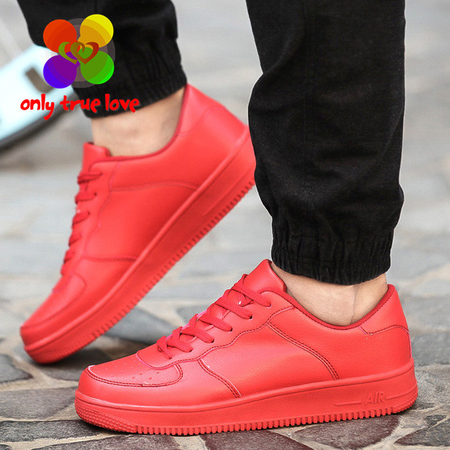 New Arrival Fashion Men Shoes Casual PU Leather Lace Up Flat With Black Red White Rubber Shoes Men Trainers <font><b>Basket</b></font> Zapatillas
