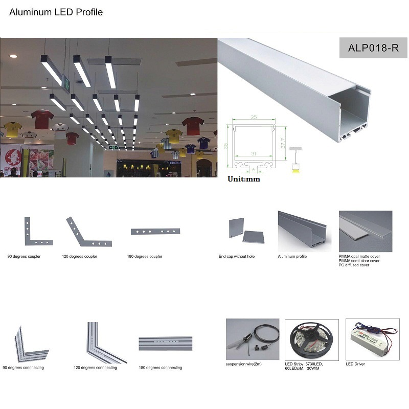 Pendent By Suspension Wire aluminum led profile 5x2m For Office and Living Room based on 12V led bar or led strip light ALP018-R(China (Mainland))