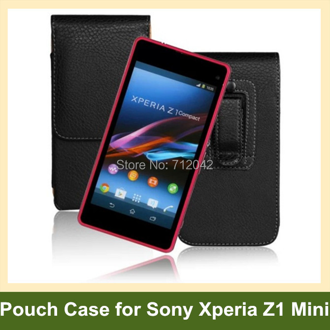 New Belt Clip PU Leather Vertical Flip Cover Pouch Case for Sony Xperia Z1 Compact/D5503/Z1 Mini/M51w 10pcs/lot Free Shipping