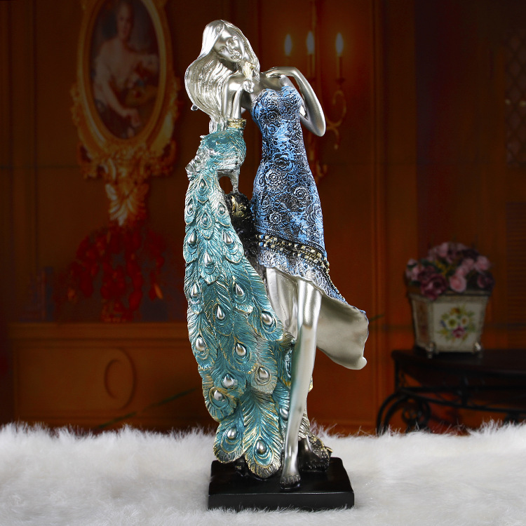 European household peacock girl characters furnishing articles Contracted resin crafts(China (Mainland))