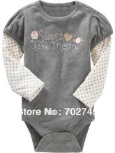 Baby Bodysuits 4123 Gray Girl Long Sleeve One Piece Bodysuits Baby Clothing(China (Mainland))