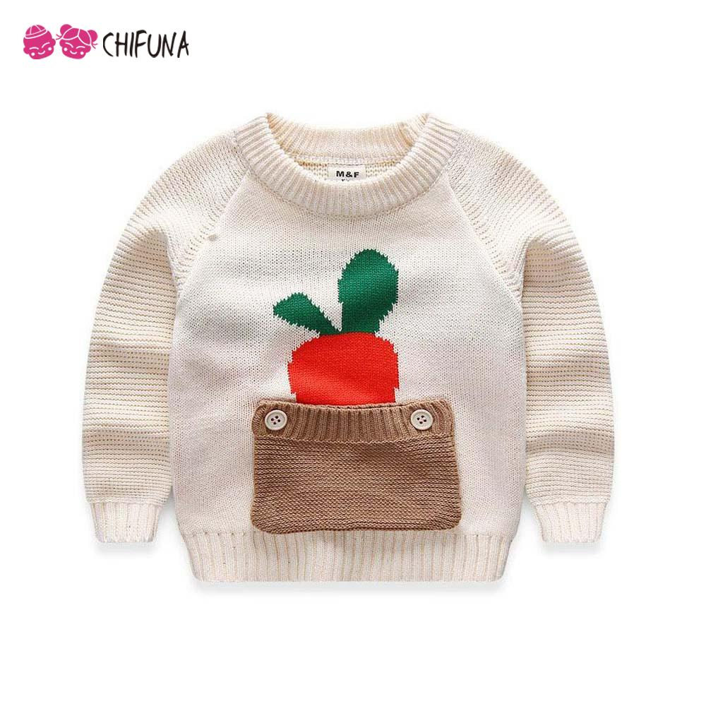 Latest 2016 Spring Sweaters Cotton Baby Girl Clothes Carrot Print Pocket Warm Kids Clothes Vestidos 2-5Y Boys Girls Sweater(China (Mainland))