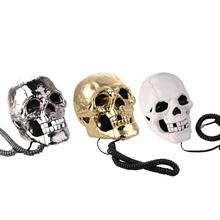Newest telefone Skull Skeleton Telephone Flashing Eyes Corded Land Line 1 Skull Head Home Desk Telephone 3 Color 1PCS(China (Mainland))