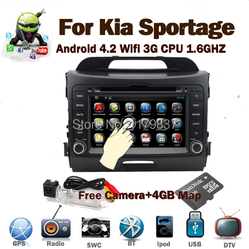 Pure Android 4.2 Kia Sportage Car DVD gps with 1.6GB CPU,Capacitive Screen,Raido,BT,TV,Optional(Canbus,DVB-T,3G) Free 4GB Map(China (Mainland))