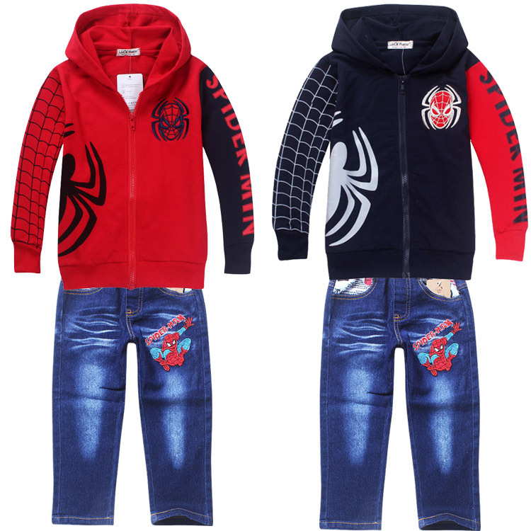 New Baby Kids Boy's Spiderman Outfits Clothing Sets Spider-man Hoodies Coat Jacket & Jeans Pants Sweatshirt trousers Autumn Suit(China (Mainland))