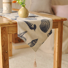 European style Mediterranean home tablecloths foreign high-grade printing table flag linen table runner(China (Mainland))