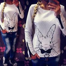 Women Femal Winter Rabbit Printed Long Sleeve Pullover Tops Outwear Shirt Sweaters S M L XL XXL(China (Mainland))