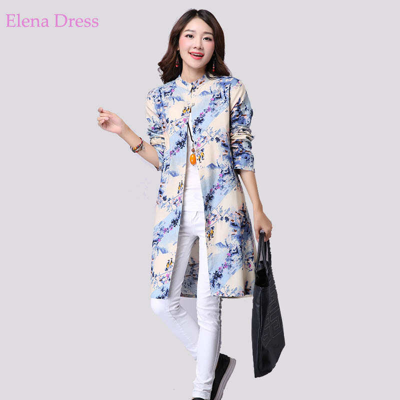 Cotton linen shirts mandarin collar long sleeve big plus for Long linen shirts for womens