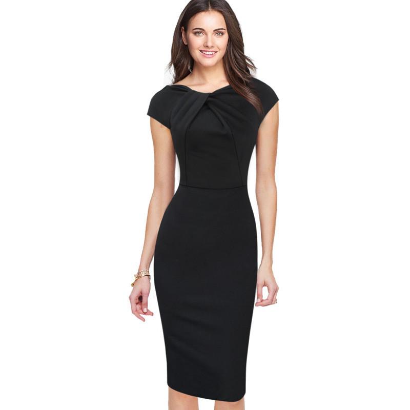New 2016 Summer Elegant Fashion Pencil Dresses For Women Plus Size Short  Sleeve Black Fold neckline Party Sheath Midi Dress 4XL