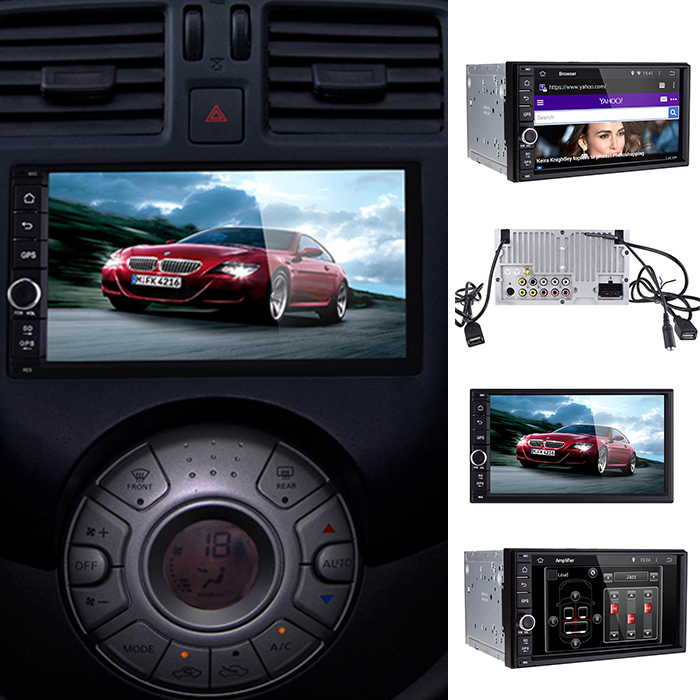 "Hot 7"" Car Stereo HD 1080P DVD Universal Touch Screen GPS Navigation Double 2 din Android 4.4 Player 3G Bluetooth Wifi F4021(China (Mainland))"
