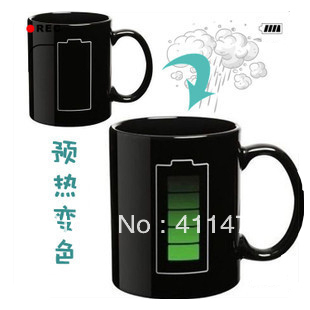 Animated Battery Coffee Mug Battery Color Changing Mug Free Shipping 3Pieces/Lot(China (Mainland))