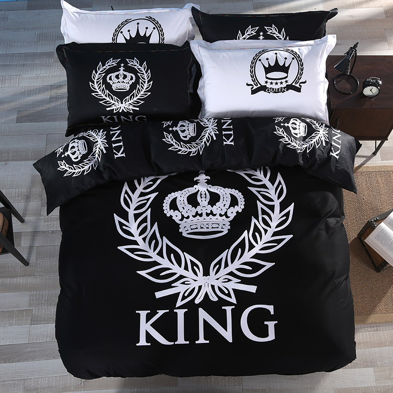 100% cotton modern black and white crown 4pcs bedding set bed linen grey bed sheet set hotel duvet cover set(China (Mainland))