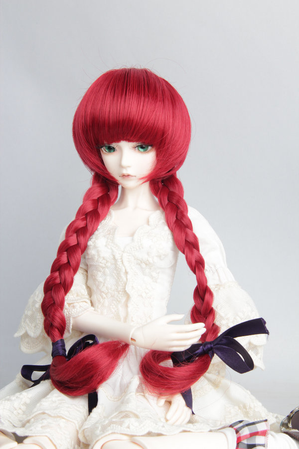 free shipping new arrvial factory sales BJD SD  brown wine red color cute long wig with Braid hair for 1/3 1/4 1/6 BJD doll wigs<br><br>Aliexpress