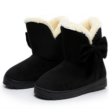 2016 más nuevas mujeres de Invierno botas de nieve de las señoras botas de color sólido clásico con bowtie slip-on zapatos de las mujeres ocasionales caliente venta AST905(China (Mainland))