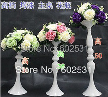 50cm high European classical white candle stick for wedding decoration/ wrought iron candlesticks2pcs/lot(China (Mainland))