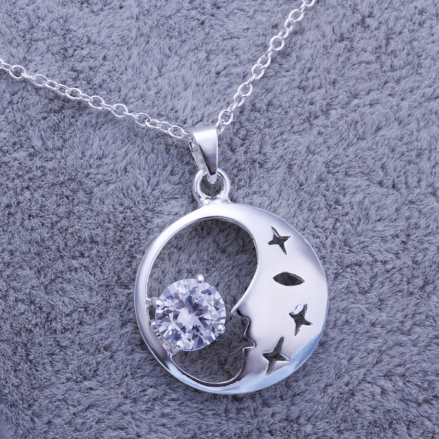 Fashion lk9252013 Silver Zircon Round Pendant Necklace Bridal Jewelry Christmas Gift Freeshipping
