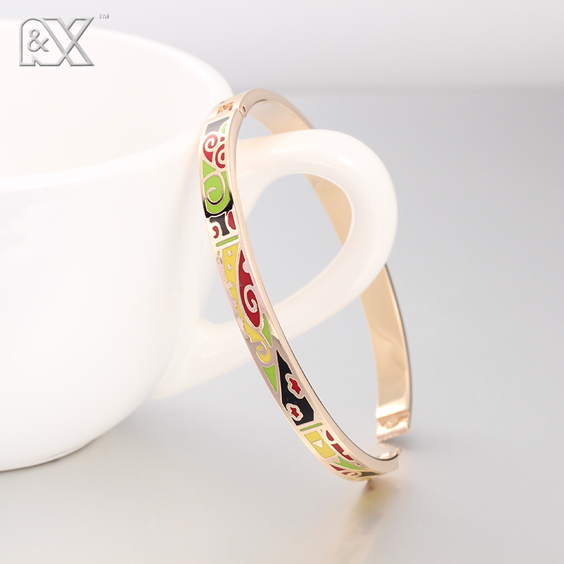 R&X Detalles Boda Women Jewelry Bijoux Femme Fine Regalos Stainless Steel Bangle Bracelet Enamel Bangles Esmaltes Gold Plated(China (Mainland))