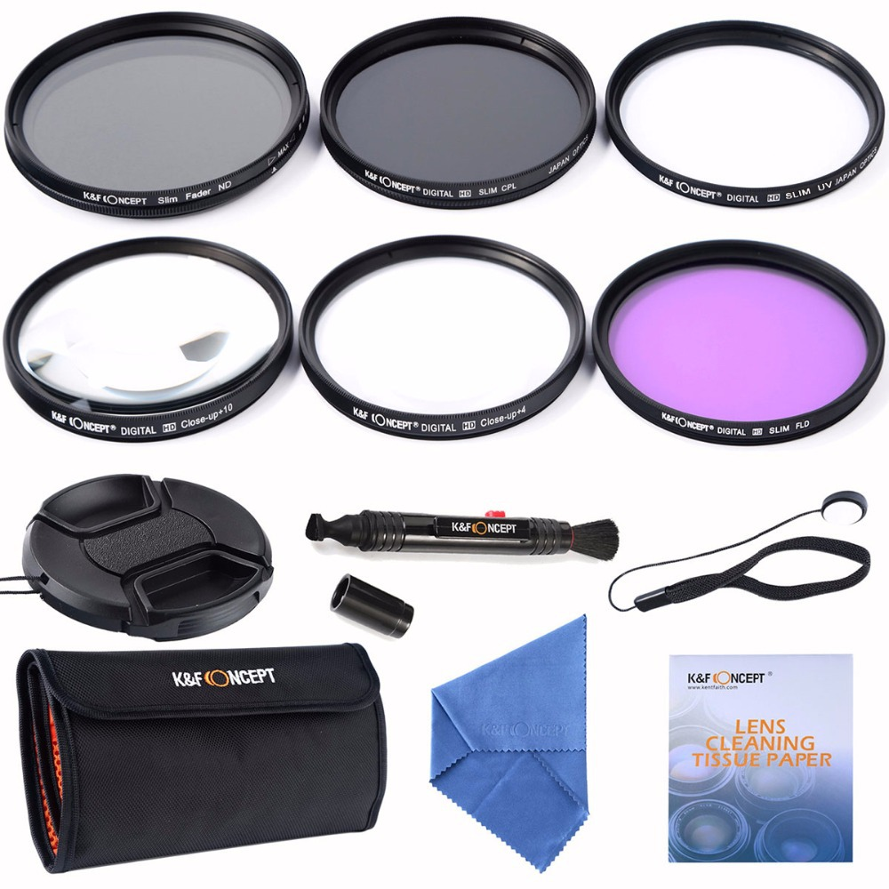 55mm Slim UV CPL FLD+Adjustable Fader Variable ND+Macro Close Up +4+10+ Cleaning kits Lens Filter For Nikon D7100 D5100 D3100(China (Mainland))