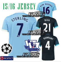 City JERSEY SOCCER HOME KOMPANY AWAY dard BLUE 15 16 KUNAGUEO SILVA JERSEYS TOURE YAYA 42  STERLING KOLAROV  FOOTBALL SHIRT(China (Mainland))