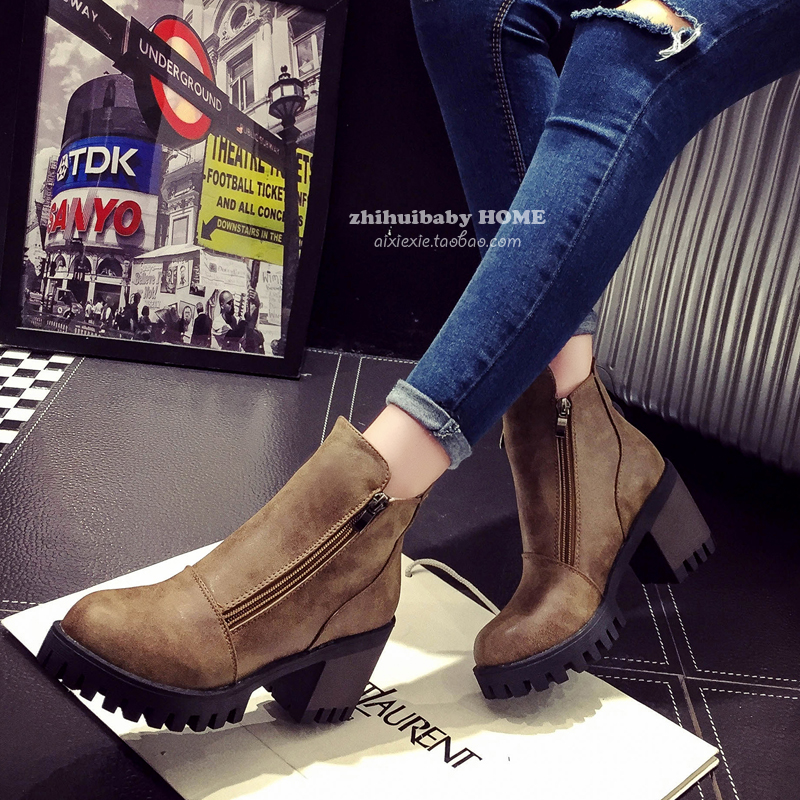 Fashion 2015 autumn and winter high heel boots women fashion platform pumps martin boots thick heel round toe martin boots