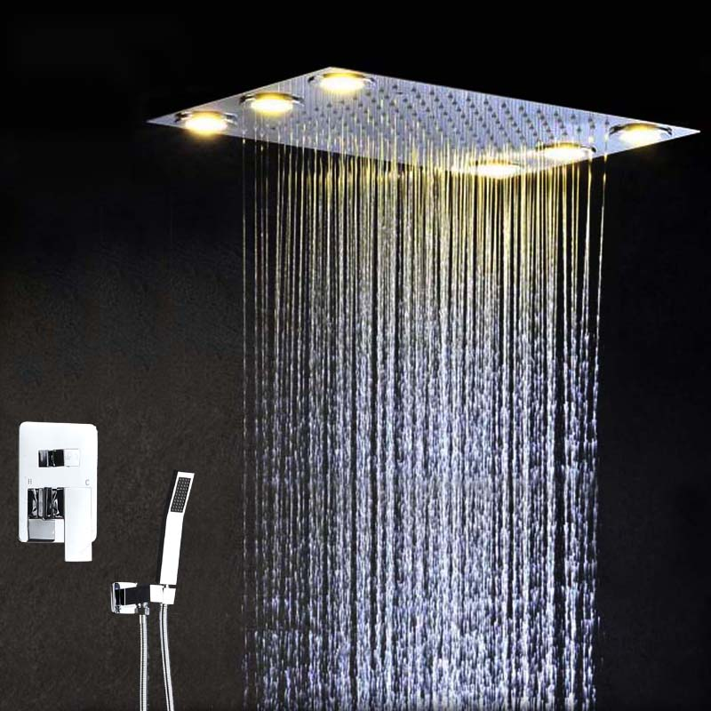 factory supply embeded ceiling mounted 360x500mm brass electric led light bathroom rainfall shower set(China (Mainland))
