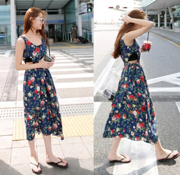 2015 summer new large flower pattern waist hollow sexy sleeveless dress free shipping plus size(S,M,L)(China (Mainland))