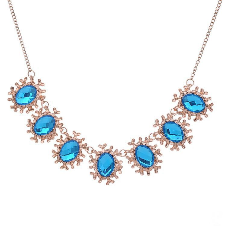 Hot Sale Vintage jewlery 2014 Lot Color Rhinestone bijoux Oval pendant long necklace Rose Gold Plated