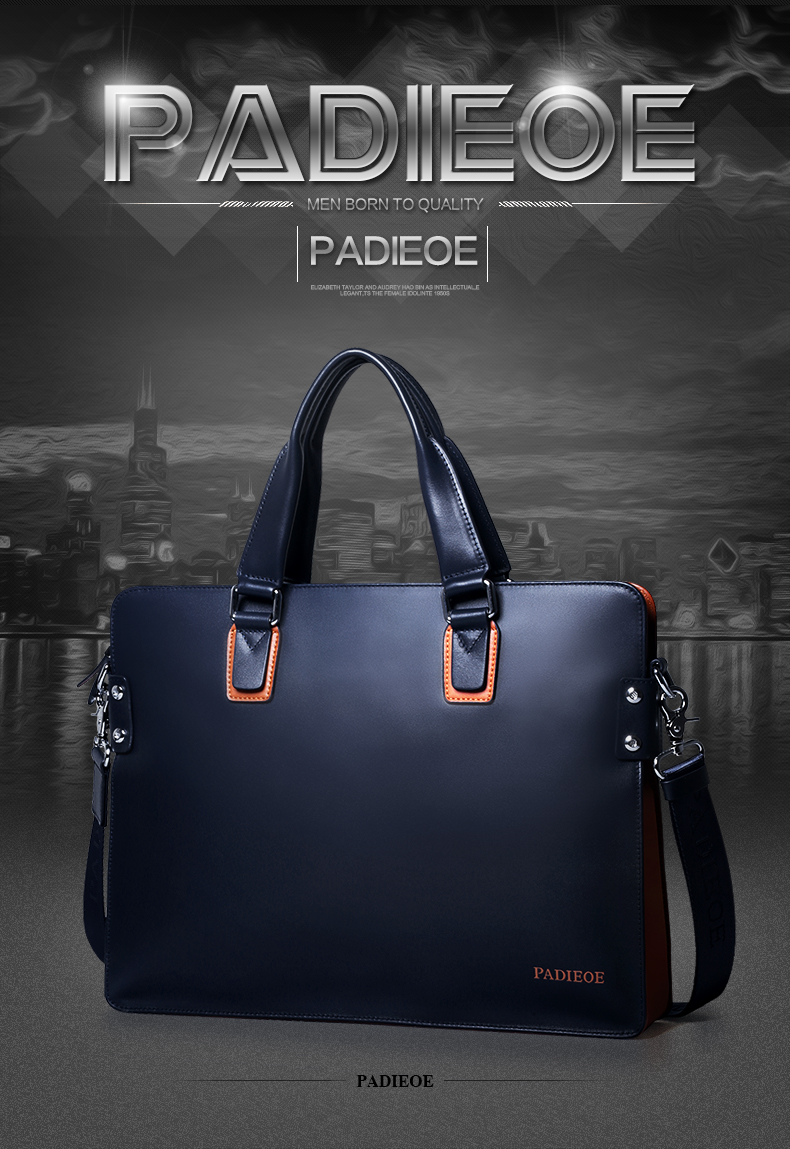 Padieoe New Fashion Genuine Leather Handbag Business Men Messenger Bags Luxury Brand Men Briefcases Designer MaleTote Laptop Bag