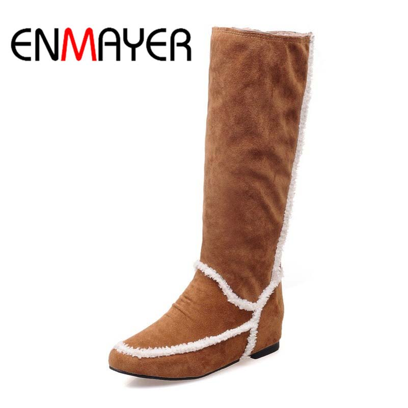ENMAYER New Style Fashion Boots Round Toe Mid Calf High Flock Boots High Quality Hot Sale for Women Winter Warm Boots<br><br>Aliexpress