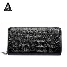 2016 Purse New Arrival High Quality Alligator Tartan Design Leather Wallet Men Long Wallets Zipper Large Capacity Male Handbag