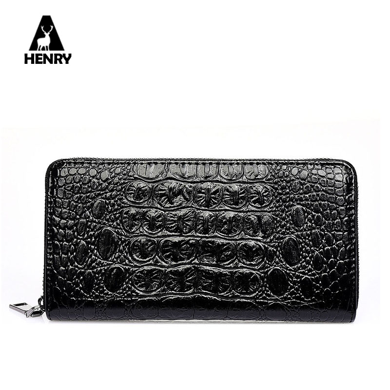 2016 Purse New Arrival High Quality Alligator Tartan Design Leather Wallet Men Long Wallets Zipper Large Capacity Male Handbag(China (Mainland))
