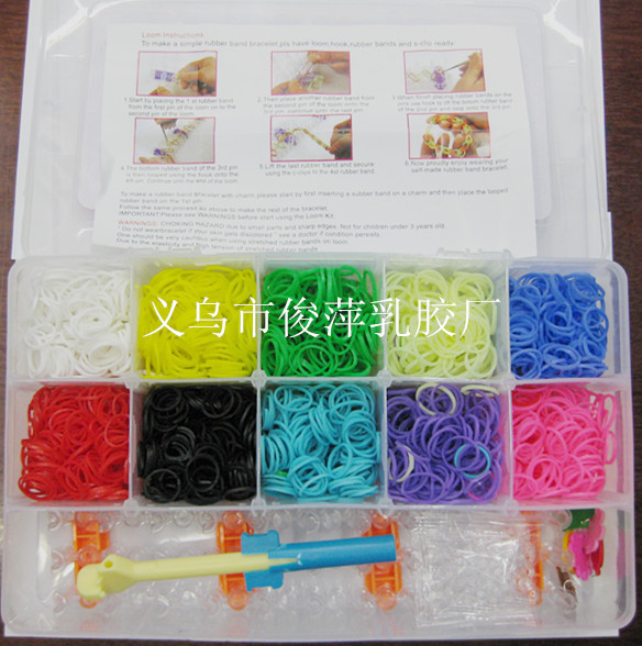 300Rubber Fun Loom Band Kit Kids DIY Bracelet Silicone Looms Bands color box Set Refills - junping rubber bands factory store