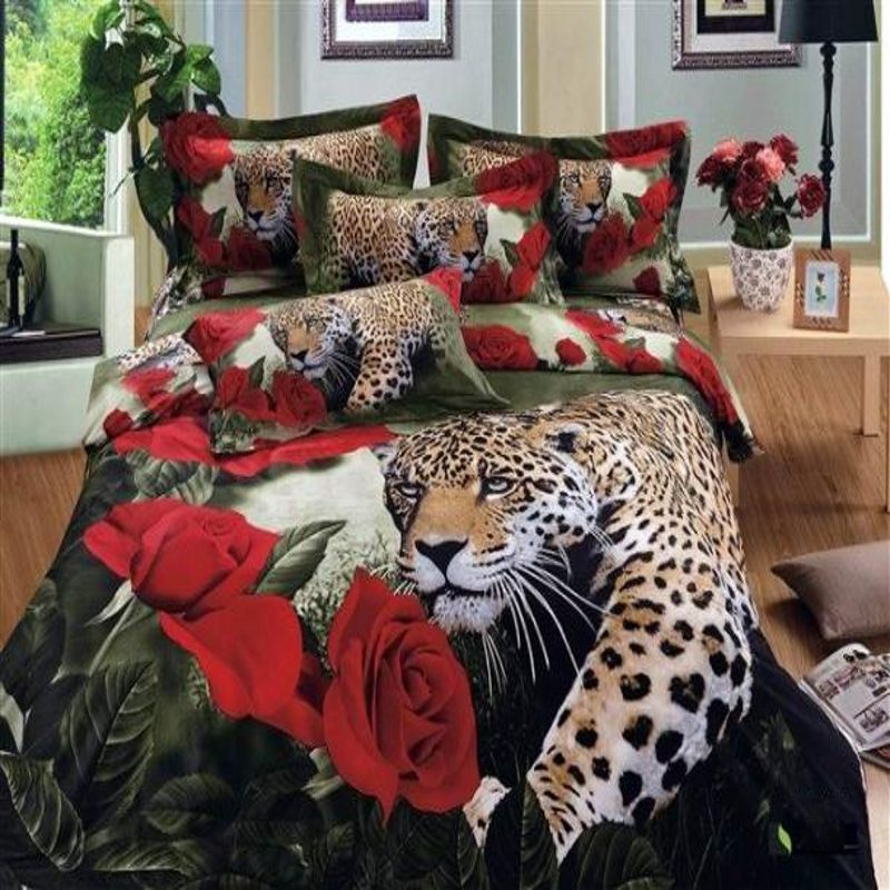 Leopard red roses 3d bedding set full queen size 4pcs Animal Duvet/Comforter cover flowers bedlinen bed sheet bedclothes cotton(China (Mainland))