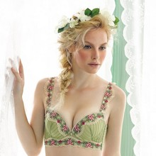 Lingerie underwear sets fashion ballet ice green flower lace embroidery Push Up Four Hook-and-eye sexy women bra and briefs set(China (Mainland))
