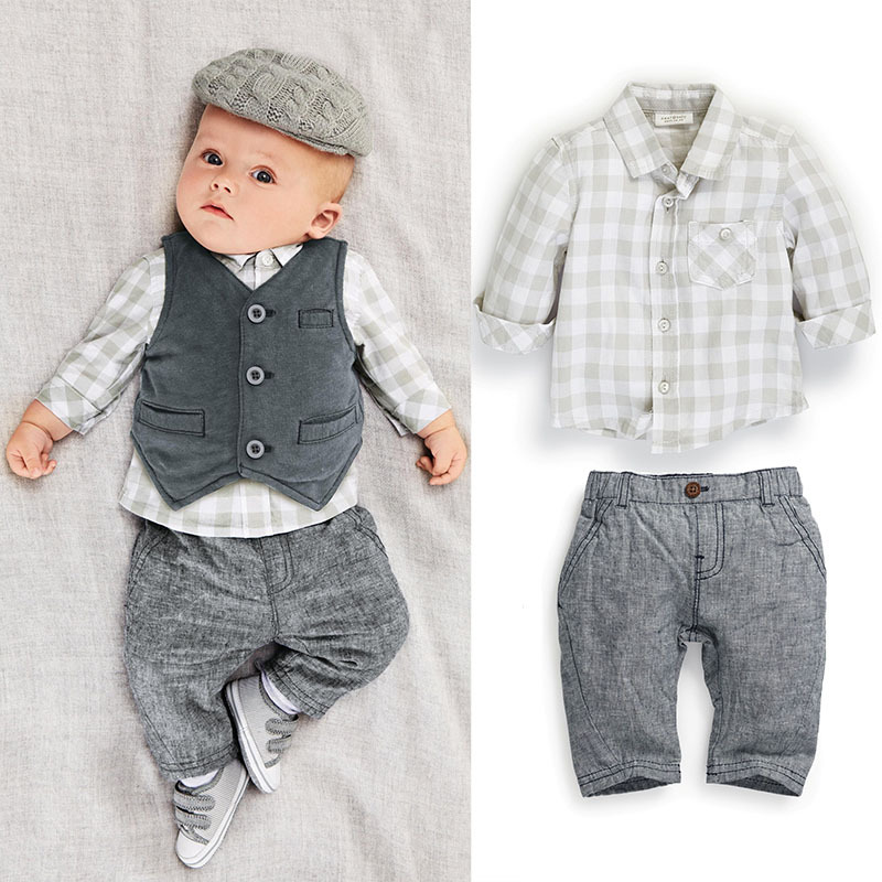 C147 2016 New 3PC Autumn Baby Boys Clothes Gentleman Suit Toddler Boys Clothing Set Infant Plaid Wedding Birthday Outfits Carter(China (Mainland))