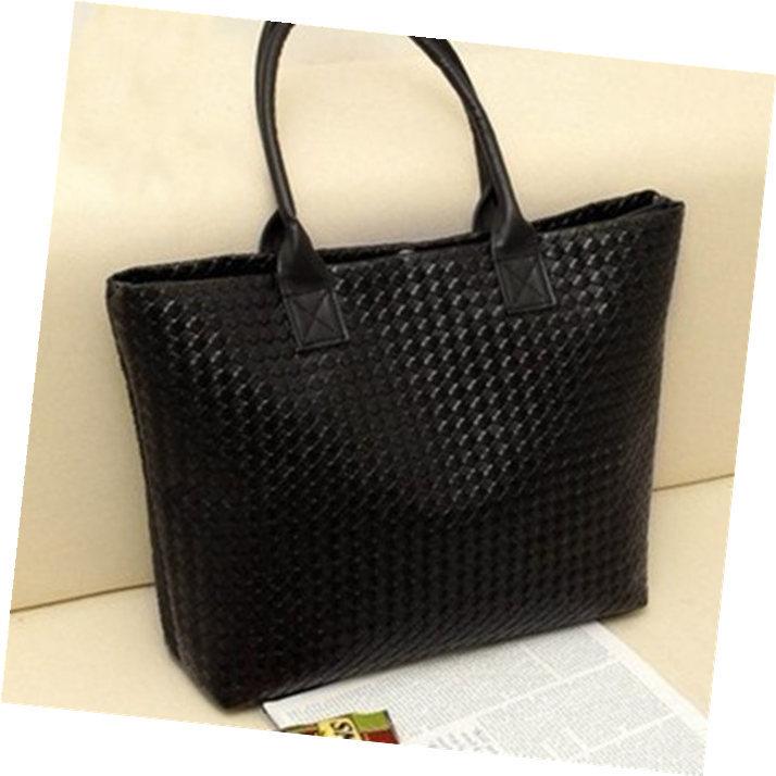 Free Shipping Women Large Capacity Shopping Tote Weave Plaid Commuter Handbag Leisure Shoulder Bag #103(China (Mainland))
