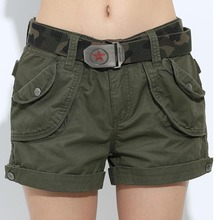 Brand Laides Shorts Women Casual Shorts Loose Pockets Zipper Military Army Green Large Size Summer Ladies Shorts Outdoors GK-952(China (Mainland))